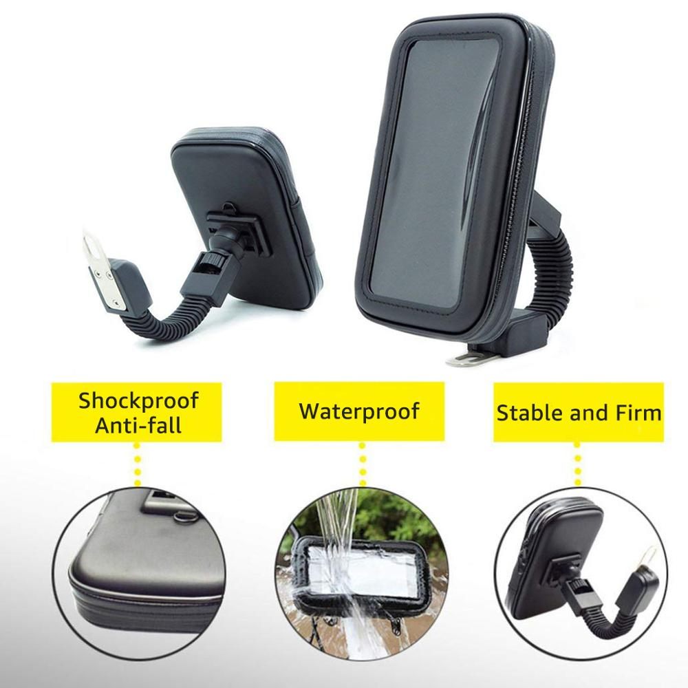 Image 3 - Motorcycle Telephone Holder Support Moto Bicycle Rear View Mirror Stand Mount Waterproof Scooter Motorbike Phone Bag for Samsung-in Phone Holders & Stands from Cellphones & Telecommunications on
