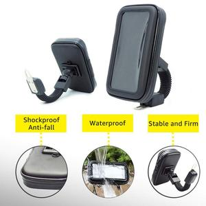 Image 3 - Motorcycle Telephone Holder Support Moto Bicycle Rear View Mirror Stand Mount Waterproof Scooter Motorbike Phone Bag for Samsung