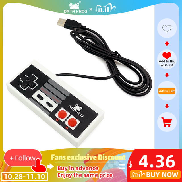 DATA FROG Classic Controller With USB Gaming Gamer Joystick Joypad For NES Windows PC for MAC Computer Game Controller Gamepad 1