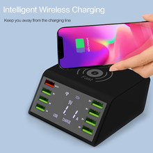 Universal Mobile Phone Charger Wireless Charger For iPhone Samsung 8 Port USB QC3.0 Fast Chargeur LCD Display Portatil Cargador(China)