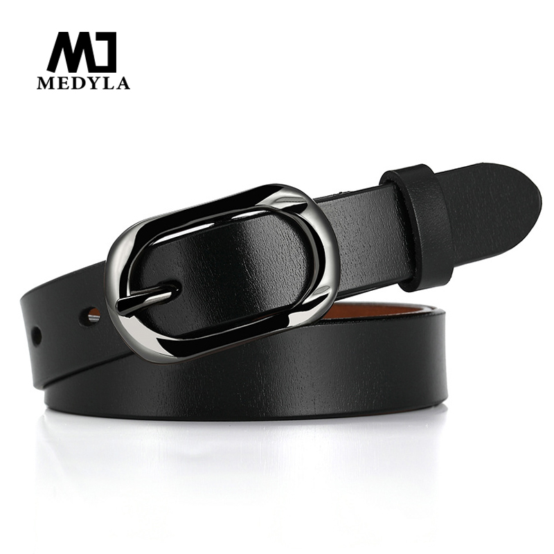 Medyla Woman's Leather Belt Genuine Quality Ladies Fashion Metal Black Buckle Belt Jeans Wild Luxury Brand The Women Belt