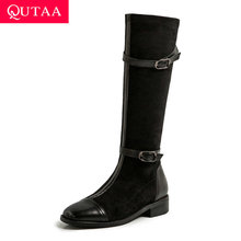 QUTAA 2021 Women Knee High Boots Square Heel PU Leather Winter Keep Warm Short Boots Buckle Lace Up Women Shoes Size 34-43