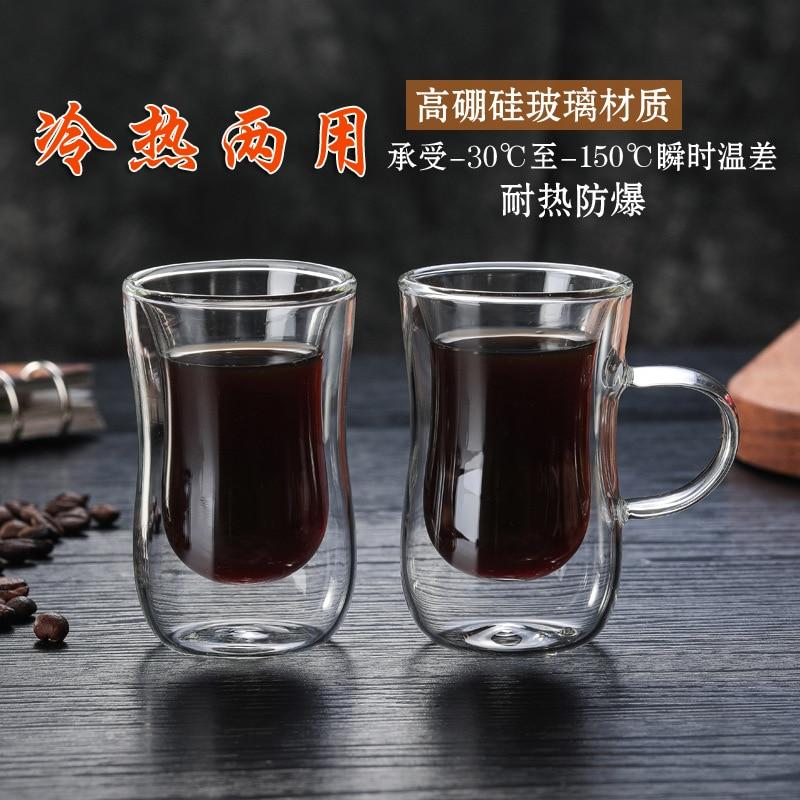 Insulated Coffee Cup Borosilicate Double Glass Water Cup Creative High temperature Resistant Tea Cup Transparent High temperatur|Tea Napkins| |  - title=