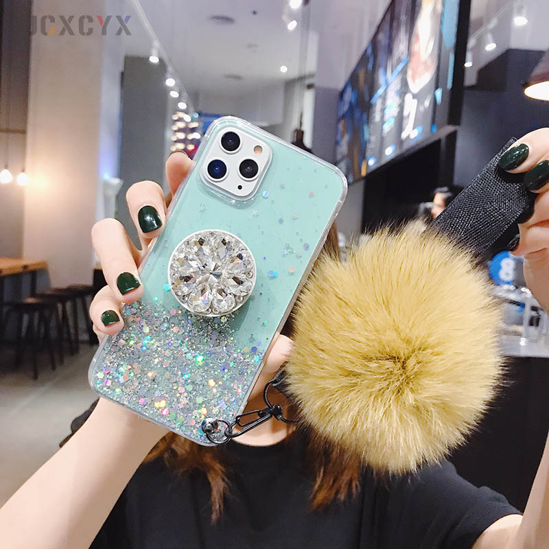 He36d474b57444a5b8934d46bf2745f1c7 - 3D Diamond Holder stand Glitter Hairball soft phone case for iphone X XR XS 11 Pro Max 6 7 8 plus for samsung S8 S9 S10 Note A50