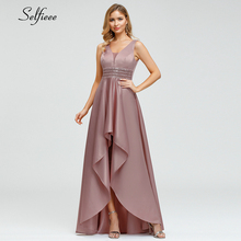 Sparkle Satin Maxi Dress Asymmetrical Double V-Neck Sequined Sexy Women New Fashion Ladies Party Ropa Mujer 2019
