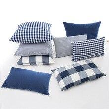 Новинка, клетчатая наволочка в полоску из полиэстера и хлопка, наволочка для подушки, наволочка для синего стула, дивана, домашний декор, нав...