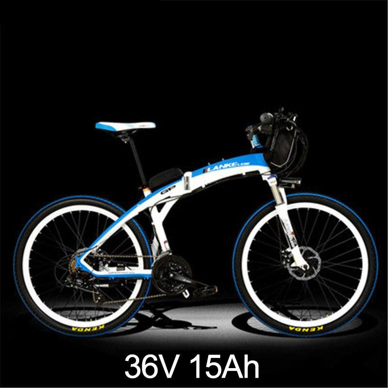 Lankeleisi 189,47 электрический велосипед, складной велосипед, 26 дюймов, 36/48 в, 240 Вт, дисковый тормоз, быстрый складной, горный - Цвет: 15a White Blue