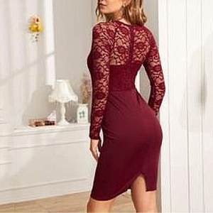 Lace Dress Spring Long-Sleeve Autumn Office Lady Women Elegant Casual Ladies Slim E2