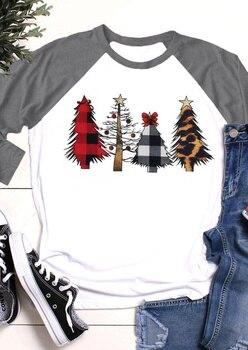 Christmas T Shirt Women Christmas Tree Top Three Quarter Sleeve Tees 2019 Autumn Winter Tee Shirts Raglan Sleeve Tee 1