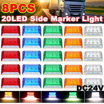 8 4 2 1 PCS DC24V 20 boczne światła obrysowe LED lampa wodoodporna dla ciężarówek przyczep naczep ciężarówek terenowych pojazdów ATV SUV tanie i dobre opinie CN (pochodzenie) Turn Signal