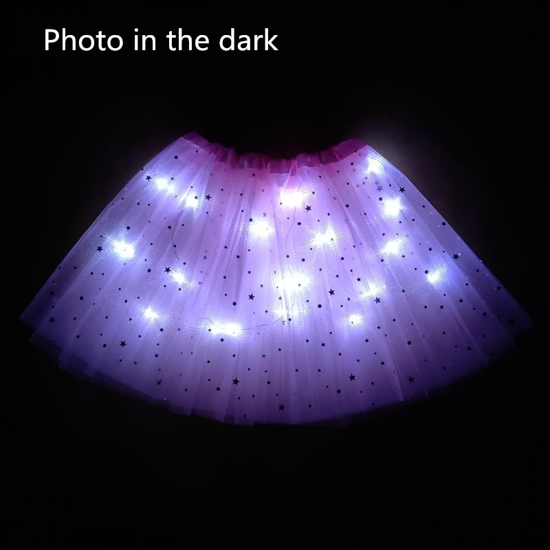 2021 New Light LED Girl Kids Clothes Star Tutu Skirt Princess Party Tulle Pettiskirt Child Ballet Dance  Children  Skirt 3