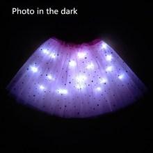 Светильник светодиодный, детская одежда для девочек, юбка-пачка со звездами, праздничная юбка-пачка принцессы, фатиновая юбка-американка, детская балетная танцевальная юбка на Хэллоуин