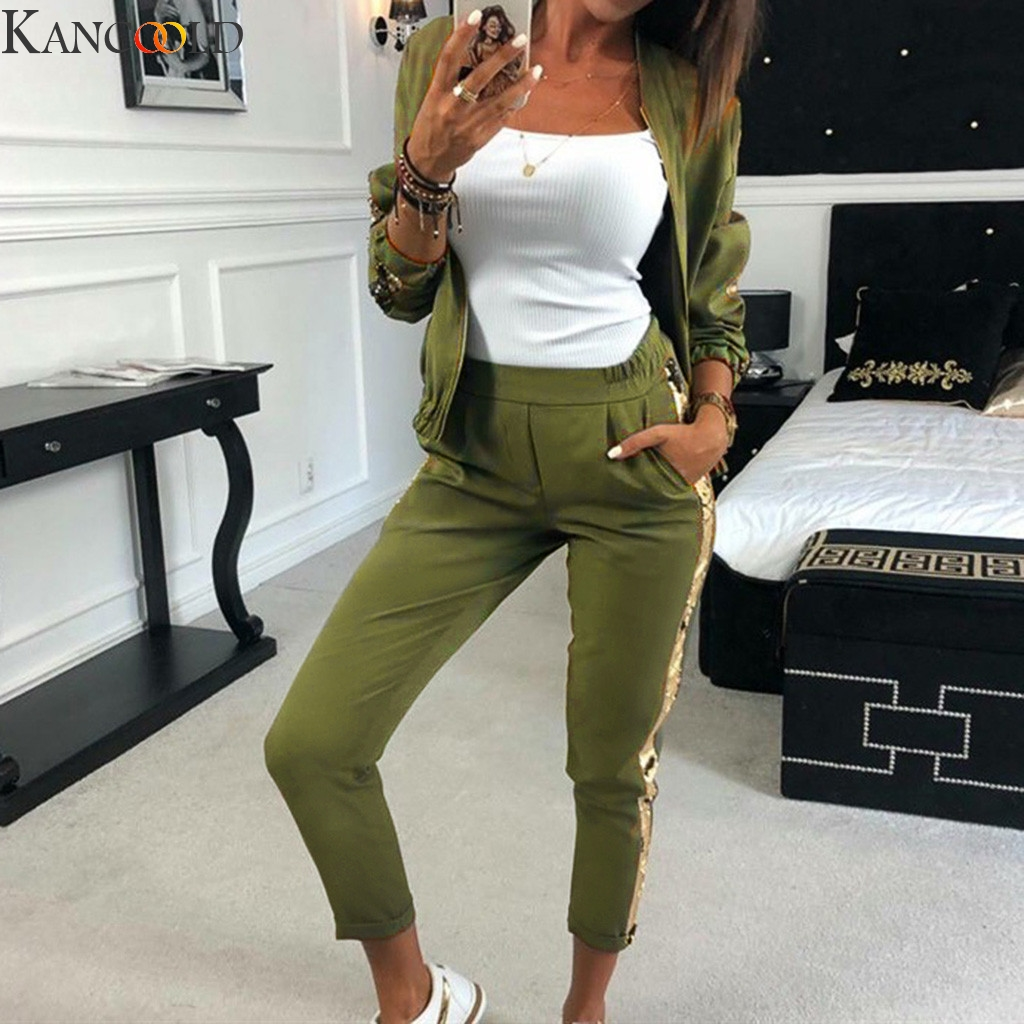 KANCOOLD 2019 Women Sports Suit Casual Sequins Stitching Jacket Trousers Sweat Suits Women Two Piece Set Top And Pants Tracksuit
