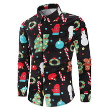 цена на Christmas Snowman Mens Designer Shirts Printed Autumn Long Sleeve Mens Tops Plus Size Casual Mens Clothing