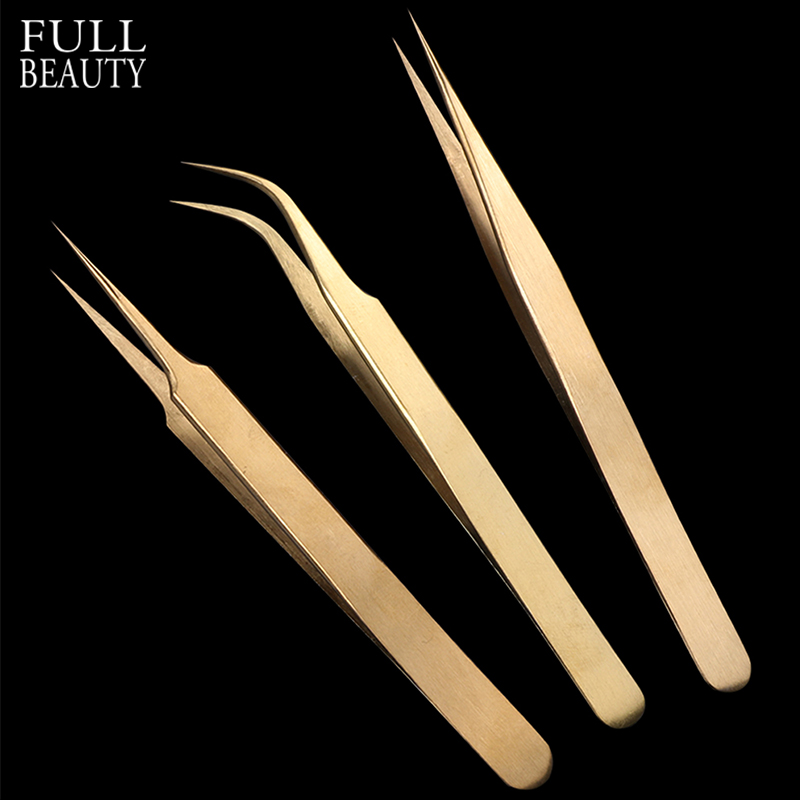 3pcs Gold Eyebrow Tweezers Set Straight Curved High Precision Eyelash Extension Tweezers Picker Pincers For Lash Makeup CH774-1