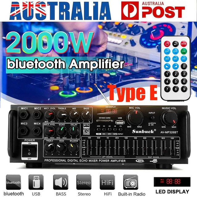 2000W 4ohm 2CH bluetooth Stereo Amplifier   2