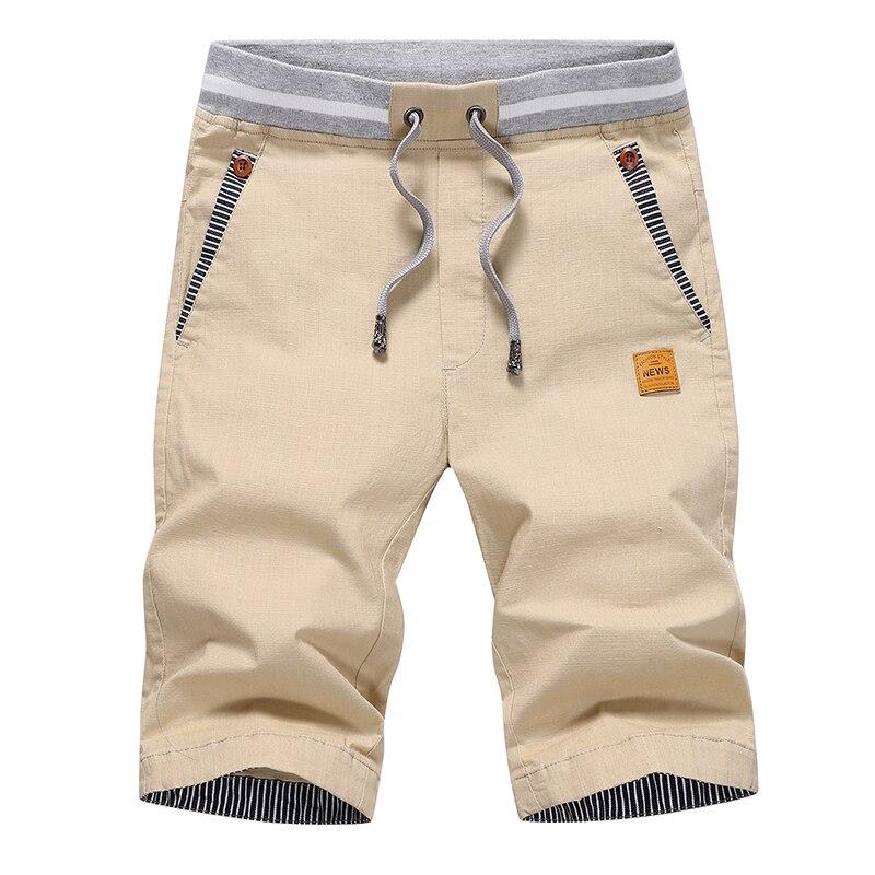 2019 Summer Casual Shorts Men Cotton Cargo Shorts Elastic Waist Drawstring Beach Board Shorts M-4XL Plus Size Drop Shipping