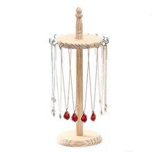 Деревянная подставка для ювелирных изделий с крючками для выставки, колье, серьги, браслет, держатель, стойка для ожерелья, витрина для ювелирных изделий