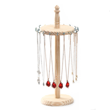 Wood Jewelry Display Stand with Hooks for Exhibition Necklace Earrings Bracelet Bracelet Holder Necklace Rack Showcase Jewelry