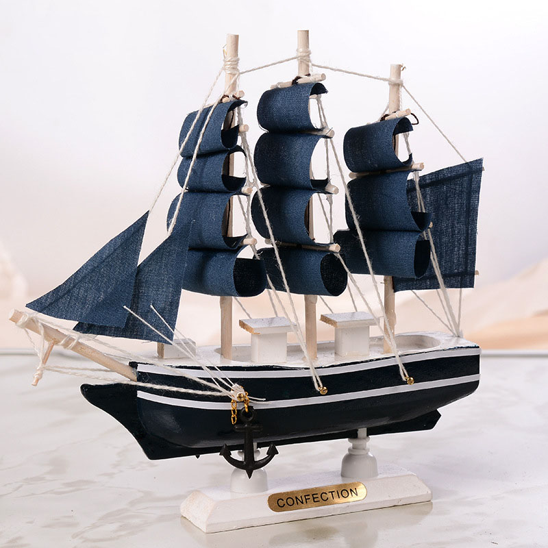 Wooden Sailing Ship Mediterranean Style Home Decoration Handmade Carved Nautical Boat Model Gift New Design