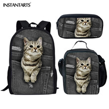 INSTANTARTS Black Cowboy Cute Cat Travel Backpack Pet/Animal Prints Book Bag for Student Pretty School Bags Teenage Girl Kid