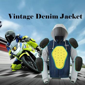 SSPEC Motorcycle Jacket Spring Summer Men Denim Jacket Windproof Motorbike Jean Jackets Chaquetas Outerwear With Protector Gear