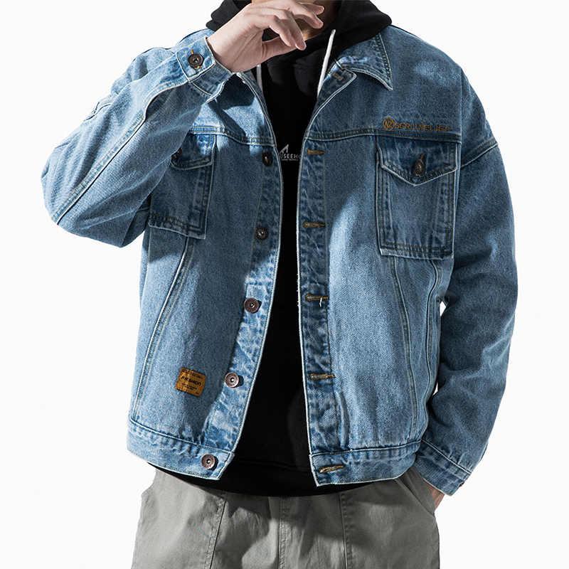 Moda Harajuku kot ceket erkekler Streetwear giyim ceket kore tarzı giyim erkek yüksek kaliteli Denim ceket bombacı ceket