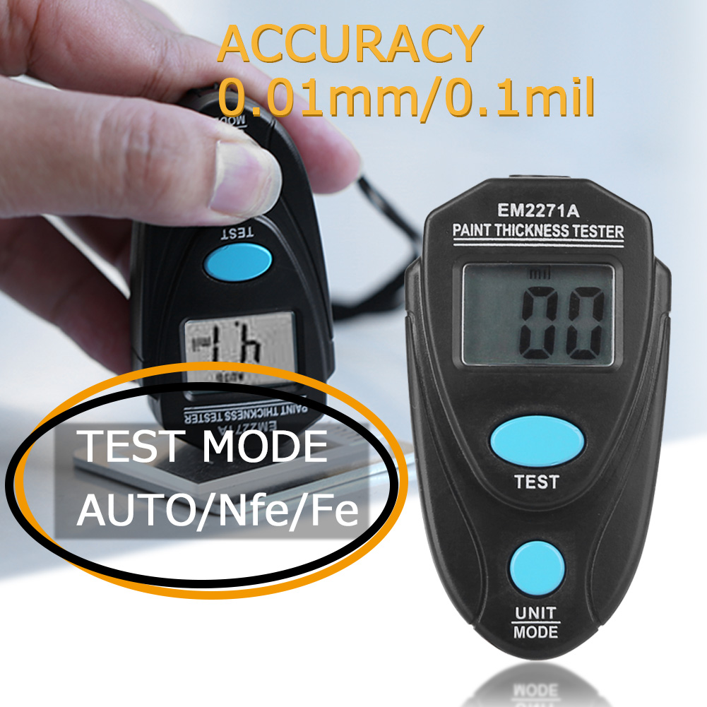 EM2271 Mini Thickness Gauge Electronic Width Measuring Instruments Car Paint Thickness Meter Paint Coating Thickness Tester Tool