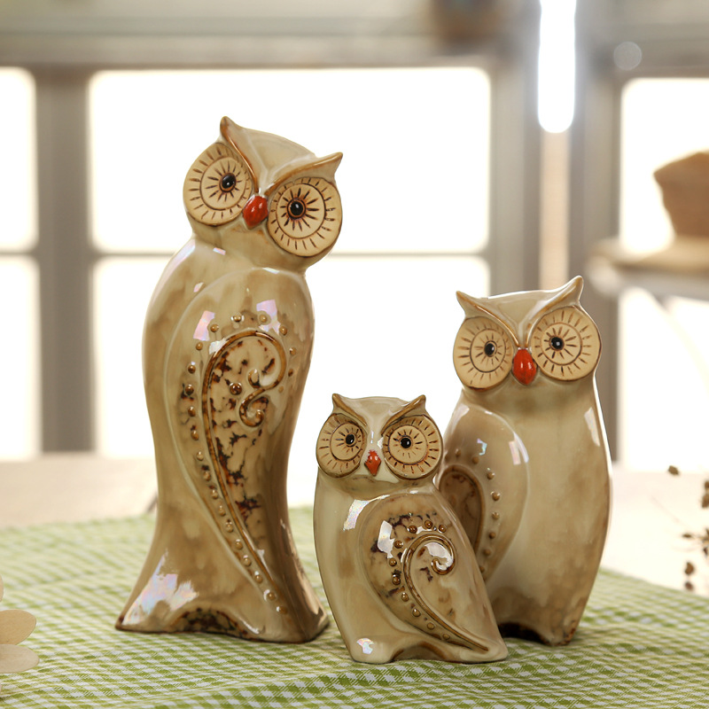 3pcs/Set Owl Family Figurines Miniatures Lovely Ornament Home Decor Creative Animal Crafts Home Decor Accessories Gift Fairy