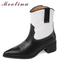 цена на Meotina Real Leather Western Boots Women Shoes Pointed Toe Block Heels Ankle Boots High Heel Lady Short Boots Autumn Winter 40