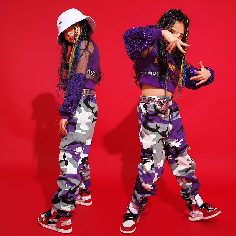 Kids Hip Hop Ballroom Dancing Costumes For Girls Jazz Dance Costumes Stage Wear Tops Camouflage Pants Outfits Child Dancewear