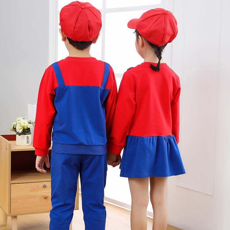 2021 New Year Christmas Clothes Super Marios Children's Bib Dress Luigi Cosplay Costume Anime Family Set Boys Girls Kids Gifts 2