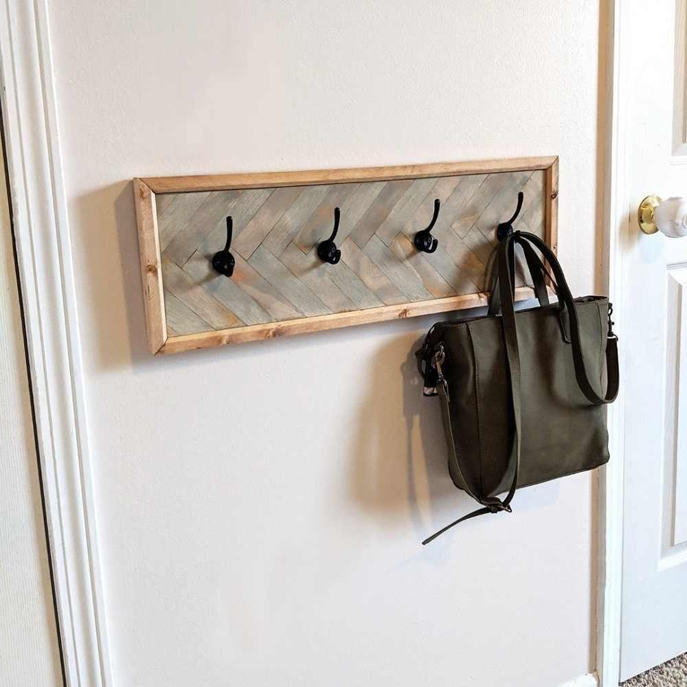 wood coat rack hanger with 4 hooks rustic wall clothes rack hanging key rack rustic coat hanger wall mounted