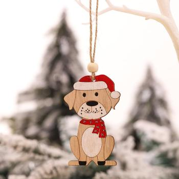 Christmas Tree Wooden Animal Car Pendant Home Decoration Gift Accessory Xmas image