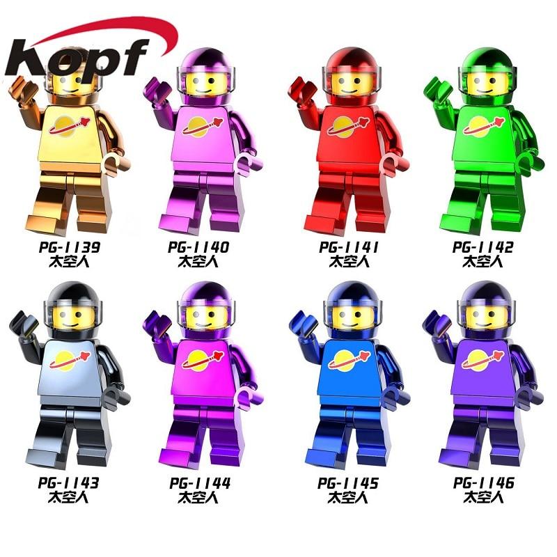 Single Sale Building Blocks Chrome Golden Series Astronaut Space Man Super Heroes Bricks Figures For Chidren Toys Gift PG8091