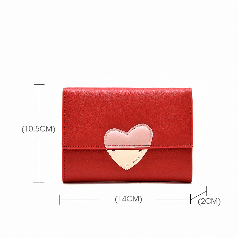 Wallet Women Genuine Leather Heart Purse Short Style Coin Purse Portefeuille Femme Carteira Feminina Womens Wallets And Purses