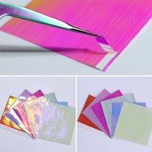 6 folhas holográficas prego folhas ultra fina linha laser 3d adesivos de transferência de arte do prego adesivos diy doces cor manicure design
