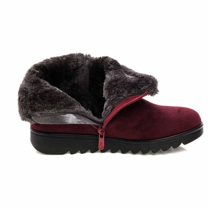 בתוספת גודל נשים חורף שלג מגפי חם קצר בפלאש שטוח Botas קרסול אתחול פלטפורמת גבירותיי זמש Zip נעלי נשי חם botas Mujer