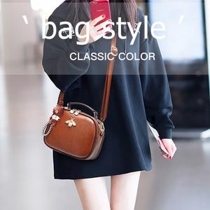 Image 4 - Luksusowy projektant kobiet torby Crossbody torba na ramię moda wisiorek z misiem, pszczoła ozdoba skórzana torebka damska torebki Bolsa