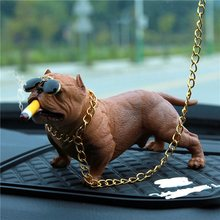 NEW Car Dog Decor Bully Cane Bambole Ornamenti Simulato Auto Ciondolo Interni Home Office Decor Giocattoli Accessori Per Interni Auto Y7(China)