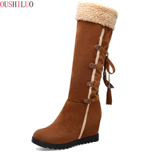 Flats Lace up snow boots woman Beige ladies black brown Casual medium for women Autumn Winter shoes