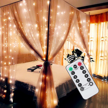 3x3m 3x2m 3x1m USB LED Icicle Curtain String Light Flash Remote Fairy Garland for New Year Christmas Wedding Home Party decor