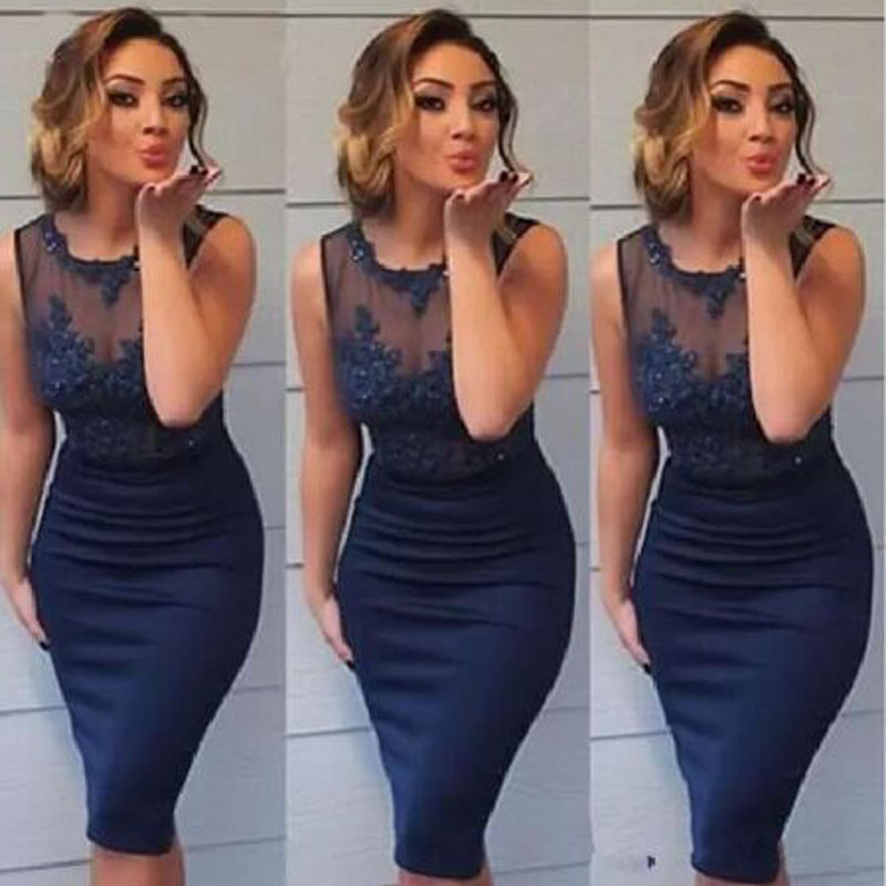Blue Appliques Lace Beading Straight Cocktail Dresses Simple Sleeveless Scoop Neck Knee-length Party Gown коктейльное платье