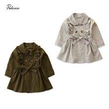 Однотонная Повседневная куртка с повязкой для маленьких девочек; ветровка с длинными рукавами; платье с бантом; пальто; сезон осень-зима; теплая Длинная Верхняя одежда; От 2 до 7 лет