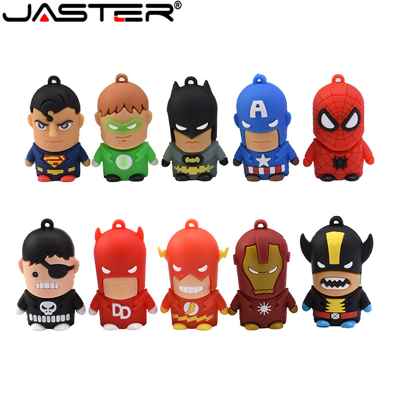 JASTER Cartoon Super Hero USB Flash Drive 128GB 16GB 32GB 64GB Iron Man Flash Memory Batman Pendrive Captain America Pen Drives