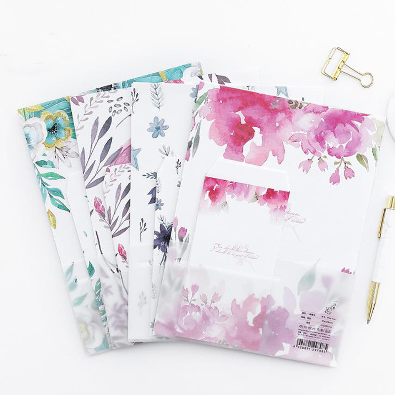 9 Pcs/pack Kawaii 3 Envelopes+6 Sheets Letters Flowers Plant On The Journey Writing Letter Paper Envelope Set Stationery Gifts