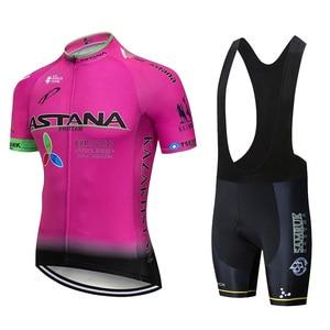 Image 4 - 2019 Astana Team Rode Korte Mouwen Jersey Fiets Kleding Mountainbike Set 20D Gel Wielertrui Pak Ciclismo