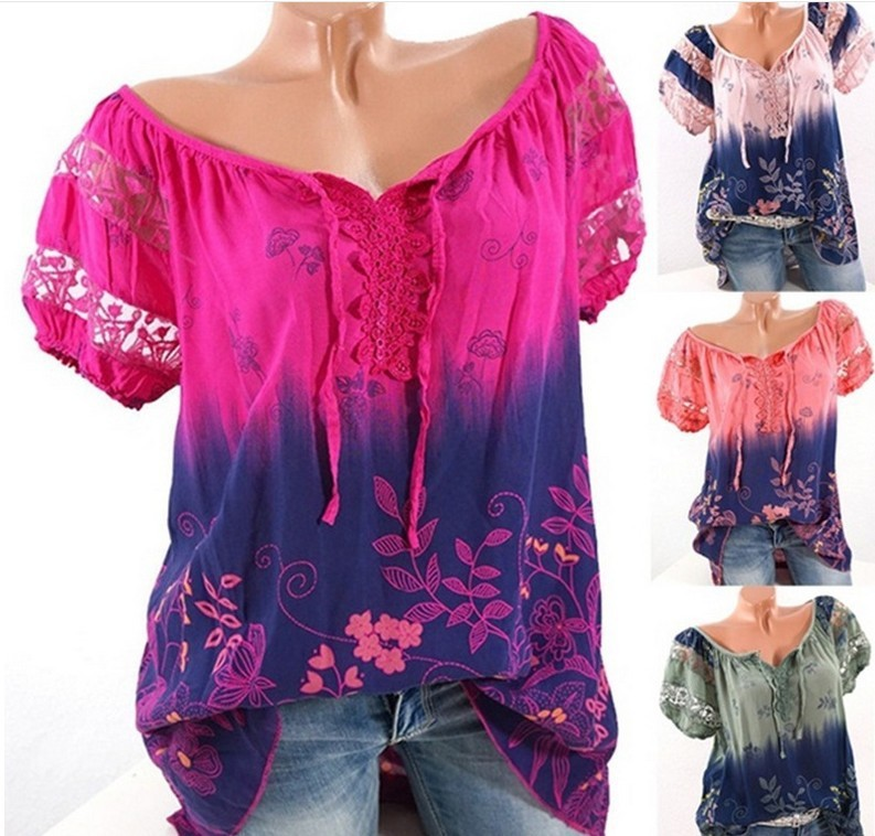 2019 ladies summer hot women's tops V-neck printing casual lace short-sleeved blouse