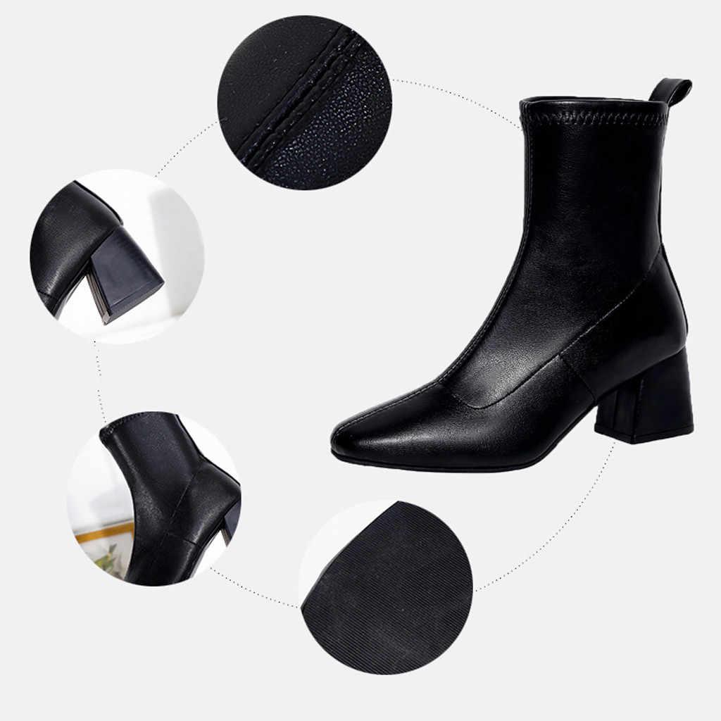 Kışlık botlar kadınlar 2018 siyah yarım çizmeler kadınlar için kalın topuk bayanlar üzerinde kayma ayakkabı botları Bota Feminina # A1