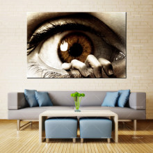 Forbeauty della Tela di canapa Pittura A Olio di Arte Della Parete the_eye_fear_hand_fingers_eye_eyelashes_pupil Spray Stampa a Inchiostro Impermeabile Complementi Arredo Casa(China)